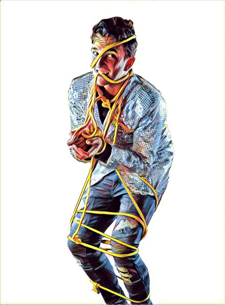 Cartel Mago Cid atado con cuerdas