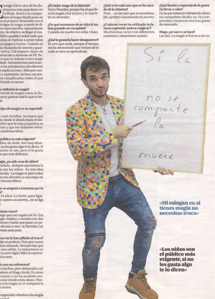 Reportaje del Mago Cid en Diario La Rioja